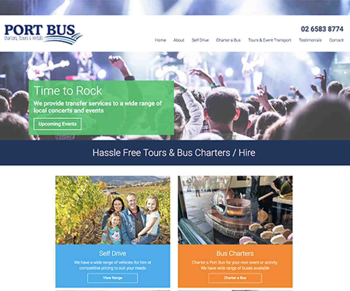 Port Bus Charters Tours & Rentals Website