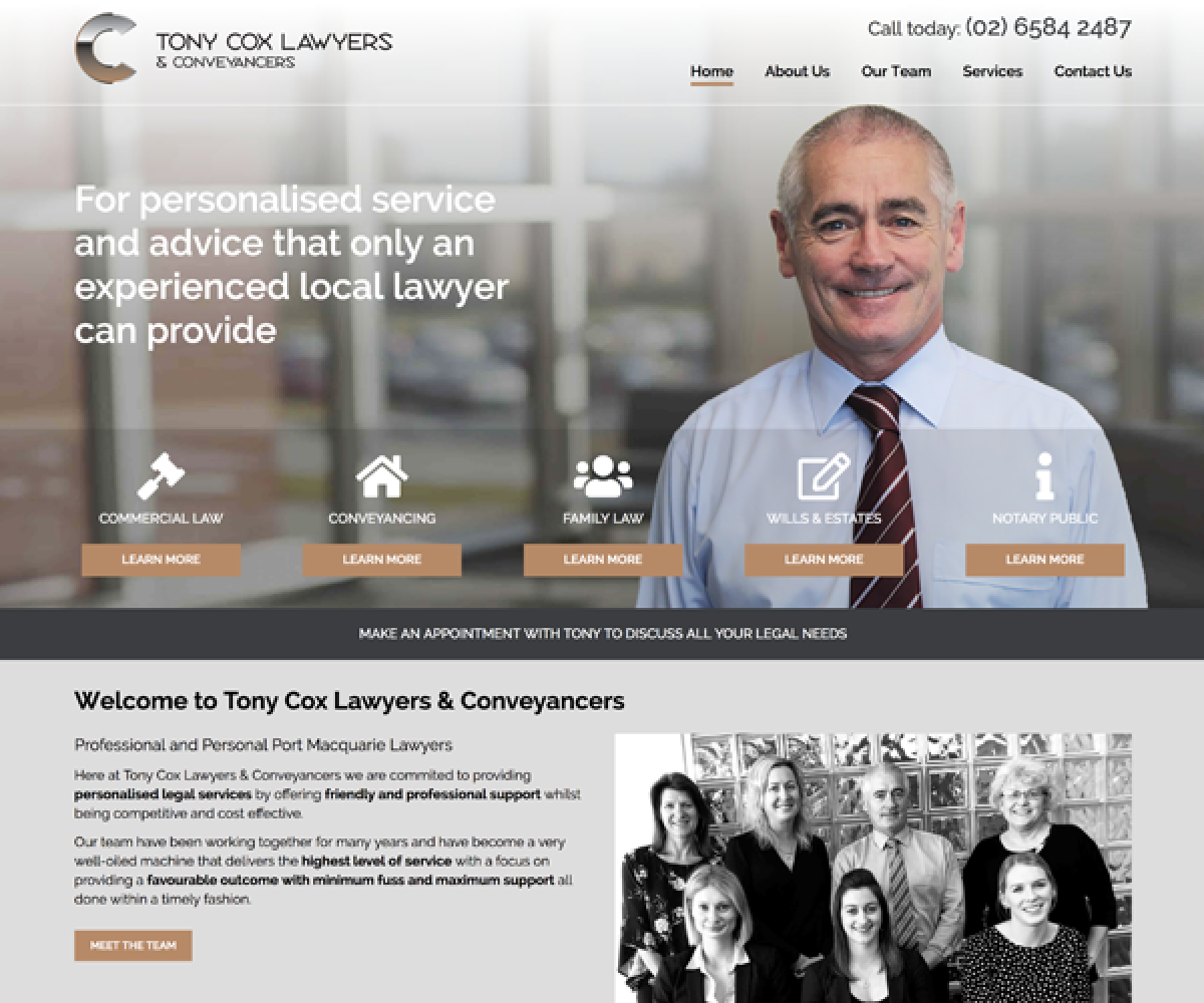 Tony Cox Lawyers Website