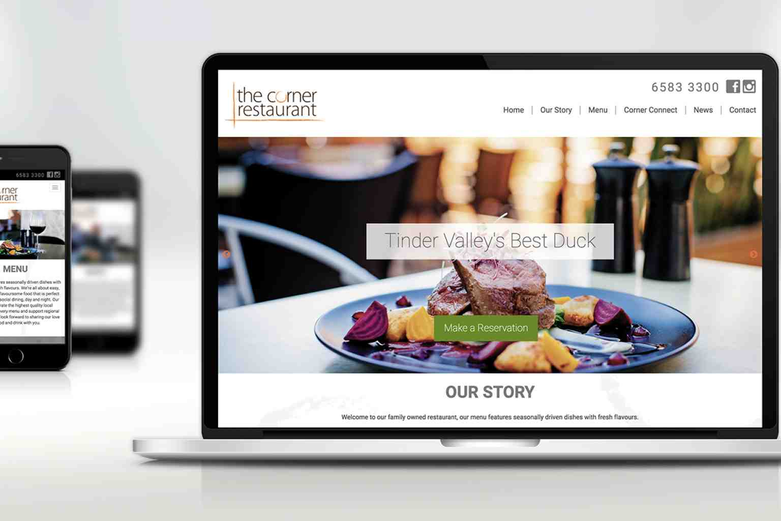 The Corner Restaurant Website